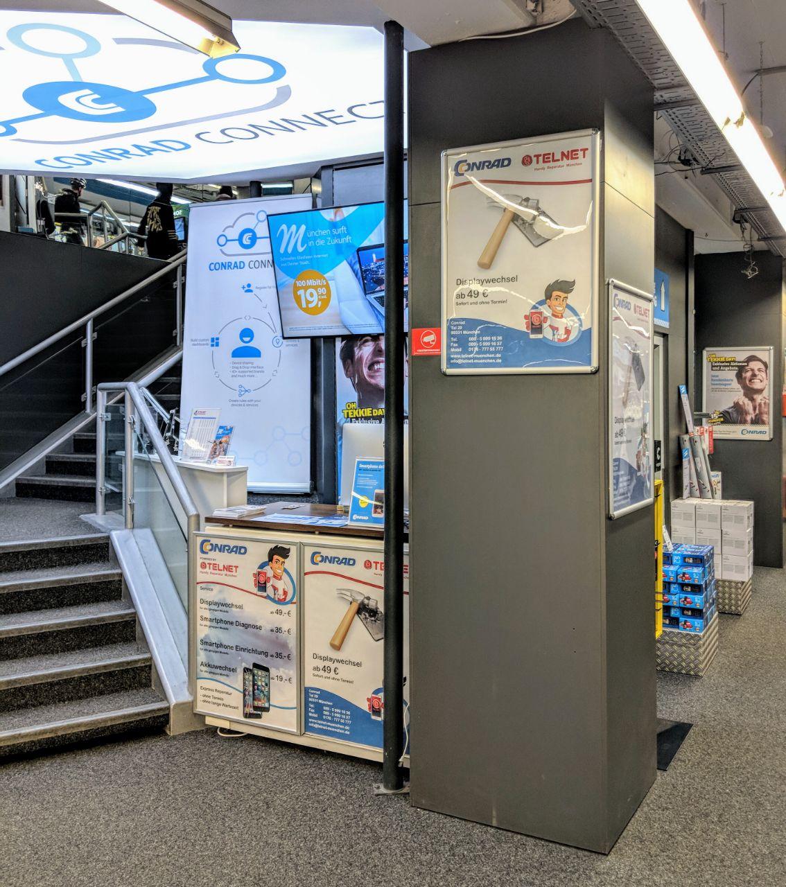 Telnet Handy & iPhone Reparatur nähe Marienplatz im Conrad Electronic Shop